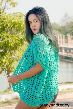 Spring time kimono cardigan free crochet pattern can be used all year round especially during those summer days or just a chilling day in spring. This crochet pattern so easy to make use only one repeating stitch.
