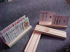 4 HAND MADE WOODEN PLAYING CARD HOLDERS on eBay.