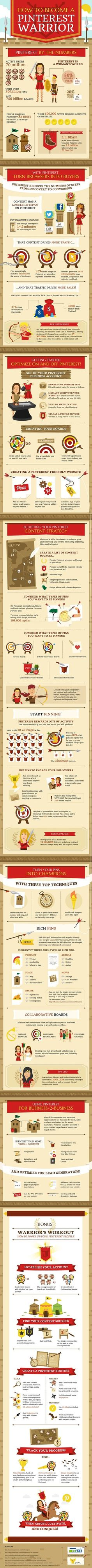 Nice infographic describing how to become a Pinterest warrior.  Interesting part is on the daily part, it states use Ninja Pinner.  On the monthly part, it starts unfollow those that use Ninja Pinner. lolol  Click to read more.