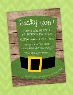 Printable Digital File, St. Patrick's Day Party Invite by C3Ldesign, $15.00  #irish #stpatricksday #lucky