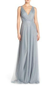 Monique Lhuillier Bridesmaids Back Cutout Pleat Tulle Gown available at #Nordstrom