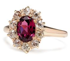19th C. Garnet & Diamond Cluster Ring
