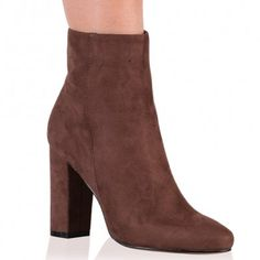 Presley Ankle Boots in Taupe Faux Suede
