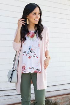 Ways to Wear a Pink or Blush Cardigan for Spring Floral Shirt + Blush Cardigan + Olive Pants + Statement NecklaceWear (disambiguation) Wear is the erosion of material from a solid surface by the action of another material. Wear may also refer to: Casual Work Outfits, Business Casual Outfits, Cute Outfits, Outfit Work, Professional Outfits, Casual Clothes, Work Clothes, Olive Green Pants Outfit, Outfits With Olive Pants