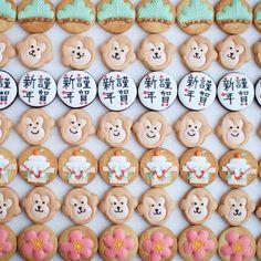 ° ° New year's icing cookies 🐒 ° お年賀クッキー🐒 こちらは2015年最後に作ったアイシングクッキーたちでした❤︎ ° °