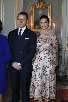 kungligamodebloggen: Visit to Sweden, January 30-31, 2018-Prince Daniel and Crown Princess Victoria; Victoria wore a dress by Ida Sjöstedt with Miist jewelry and Marzio shoes