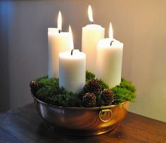 Christmas candles in old copper bowl. Sweden.