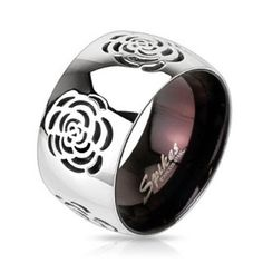 Grooved Rose Two Tone Black IP Band Fashion Ring Stainless Steel