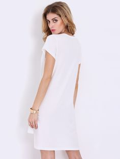 White Short Sleeve High Low T-shirt Dress