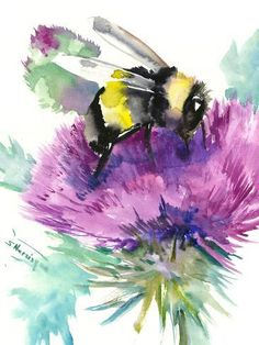 size: 24x18in Art Print: Bumblebee And Thistle Flower 2 by Suren Nersisyan : Transform your home into your own curated gallery space with this stunning print. Weave it into a complementary color scheme or feature it in a clean, open space for a distinct statement. Made for the art lover in you. Thistle Tattoo, Bee Painting, Artist Painting, Thistle Flower, Bee Art, Watercolor Paintings, Watercolors, Acrylic Paintings, Stretched Canvas Prints