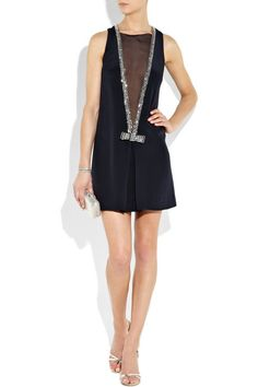 Navy silk sleeveless dress w/ a crystal-embellished sheer mesh deep V-front..personally cant wear it but its gorgeous