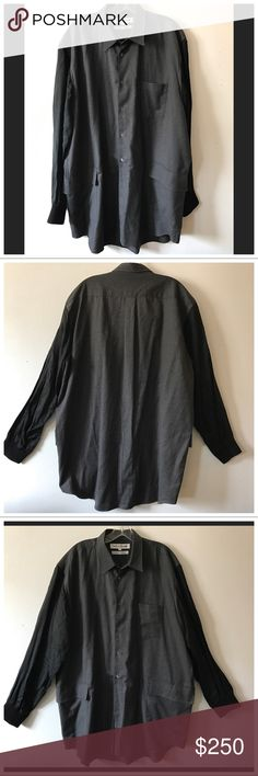 Vintage Comme Des Garcons SHIRT contrast men's top From 1994, this pristine condition Comme Des Garcons SHIRT for men features an oversized silhouette, boiled wool charcoal body w/contrast rayon sleeves in black. Oversized chest Pocket & 2 hip/waist pockets. Made in France. Size L. Flawless condition! Exceedingly rare!   COMME des GARÇONS SHIRT specializes in shirts. French-made shirts are slashed, spliced, patched, deconstructed & then reconstructed in a continual exploration of how…