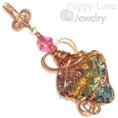 Bismuth Crystal Wire Wrapped Pendant in Bronze, Artisan Handmade