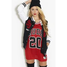 Fenchurch Varsity Jacket ($21) ❤ liked on Polyvore featuring outerwear, jackets, outfits, full outfits, dresses, varsity jacket, college jacket, varsity style jacket, letterman jackets and fenchurch