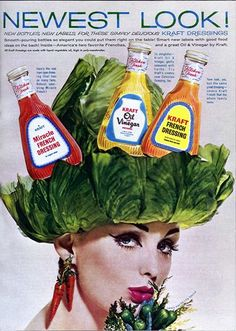 Vintage ads featuring women with random stuff on their heads