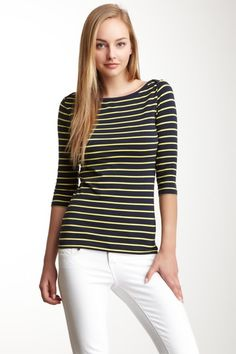 French Connection bubble bee stripes top