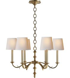Visual Comfort Thomas OBrien Channing 6 Light Chandelier in Hand-Rubbed Antique Brass TOB5119HAB-NP #visualcomfort