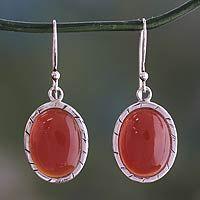 Carnelian dangle earrings, 'Captivating Sunset'