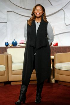 My style on October 13: grey high-low crew tee, vest cardigan, leggings, mid-calf boots, gold hoops | Queen Latifah #ootd