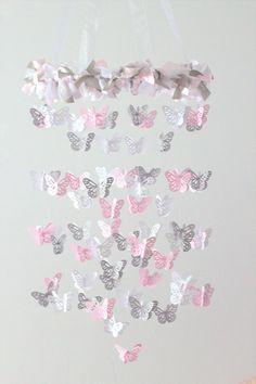 Pink & Gray Nursery Butterfly Mobile by LovebugLullabies on Etsy