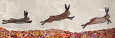 """Brown Bunnies Jumping Over Flowers"" by Eli Halpin"