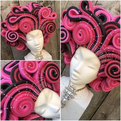 *Bling bling* Pink and black Foam wig with a lot of multi color rhinestones. Custome made in other colors possible