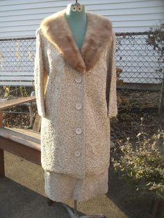 Vintage Champagne Ribbon Work Mink Fur Collar Wiggle Pencil Skirt Jacket Suit | eBay