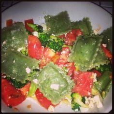 Fitness Foodie  Easiest 10 minute healthy lunch!  Organic Ravioli Sauteed Broccoli Diced Tomatoes Feta Olive Oil Himalayan Salt Pepper fb.com/thefitnessfoodieakajamieorear.  ig: @Jamie Orear