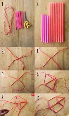 40 Projects Just For Fun: Himmeli Diy And Crafts, Crafts For Kids, Arts And Crafts, Straw Art, Straw Crafts, Cheap Diy Home Decor, Fleurs Diy, Deco Nature, Geometric Decor
