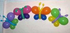 Unas alegres mariposas decorativas realizadas con globos de colores