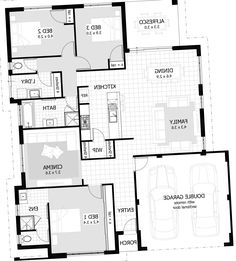 Three Bedroom Home Design New Three Bedroom Floor Plan House Design  Httpsbedroomdesign Inspiration Design