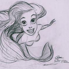 Glen Keane. Famous scene from The Little Mermaid.