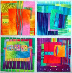 "Fibermania: Make Me a Quilt: Stephanie Set of four, revisiting the Street Series. Each is fused, 12"" square."