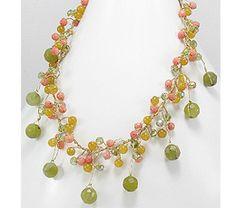 Colier din matase japoneza aurie cu agate si cristal verde 34-1-i22122