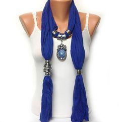 blue jewelry scarf royal blue soft unique by BienBijou