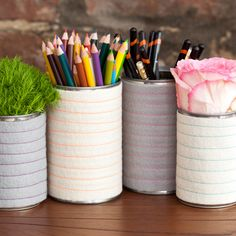 Make your own striped wool pencil pots and planters—all you need is velcro, thread, and soup cans.