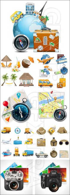 Travel elements and icons in vector stock