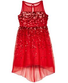 Crystal Doll High-Low Illusion-Neck Sequin Dress, Big Girls (7-16)