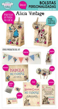 Productos personalizados para una fiesta de Alicia en el Pais de las Maravillas. Alice in Wonderland!