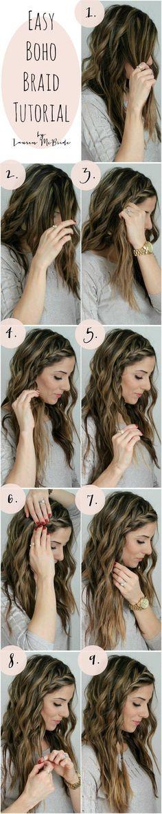 Easy Boho Braid Tutorial. Step by step how to braid your own hair. DIY wavy long hair style.