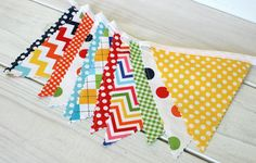 Birthday Decoration, Colorful, Bunting, Fabric Banner, Flags, Photo Prop, Nursery Decor - Rainbow Chevron, Dots, Gingham - Ready to Ship