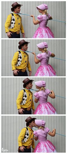 Cowboy Woody and Bo Peep (Disney's Toy Story) Cosplays: & Gabor Photo college costume, happy costume, Halloween costume Cute Couple Halloween Costumes, Looks Halloween, Cute Costumes, Family Halloween, Halloween Cosplay, Halloween Outfits, Cosplay Costumes, Fancy Dress Costumes Couples, Couple Costume Ideas