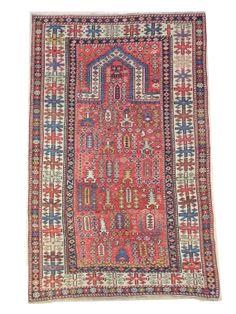 Antique Caucasian Shirvan prayer rug, 91 x 142 cm, excellent condition, ca 1880-90.