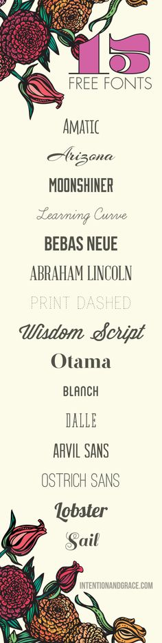 Top Free Fonts for design and blogging are live. From scrips to serifs and more there are so many goodies to choose from! | Intentionandgrace.com
