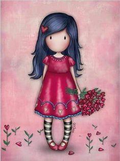 Cute Girl Drawing, Cute Drawings, Pretty Art, Cute Art, Cute Images, Cute Pictures, Little Doll, Whimsical Art, Cute Illustration