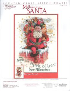 """Vermillion Stitchery - Millenium Santa - Counted Cross Stitch Chart. Includes lettering for an Alternative Verse: """"May Santa's Spirit of Love be with you this Christmastime"""""""