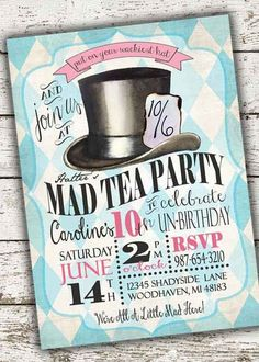 Alice in Wonderland Party Ideas—by a Professional Party Planner Alice In Wonderland Invitations, Alice In Wonderland Tea Party, Kids Birthday Party Invitations, Tea Party Birthday, 10 Birthday, Frozen Birthday, Birthday Ideas, Casino Party, Casino Night