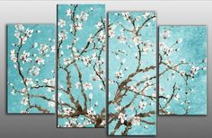 "Large Duck Egg Blue Blossoming Tree Canvas artwork 4 pieces multi panel split canvas completely ready to hang hanging cord attached, hanging template included for easy hanging, hand made printed to order UK company 40"" width 28"" height , http://www.amazon.co.uk/dp/B005NIE302/ref=cm_sw_r_pi_dp_bue1sb1XB8Q9W"