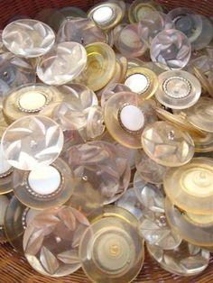 Lucite plastic vintage buttons