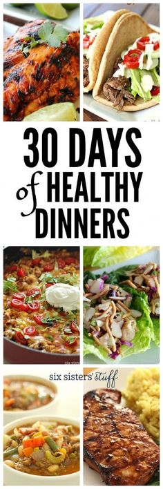 30 days of healthy dinner from SixSistersStuff – Gesundes Abendessen, Vegetarische Rezepte, Vegane Desserts, Heart Healthy Recipes, Healthy Dinner Recipes, Healthy Snacks, Healthy Menu, Healthy Cooking, Healthy Eating, Cooking Recipes, Grilling Recipes, Cooking Ideas